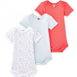 Set of 3 baby girl short sleeve bodysuits
