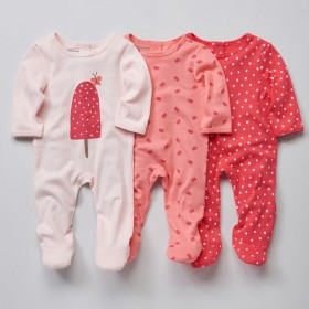 Set of 3 baby cotton pajamas